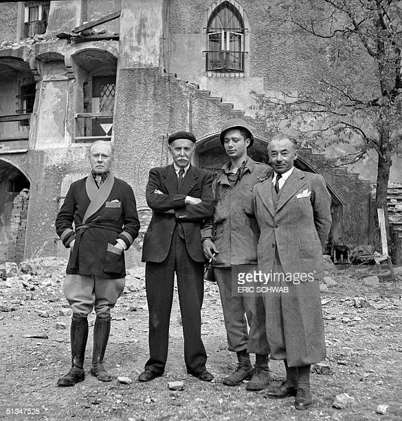 From L to R French General Maurice Gamelin French Michel Clemenceau an unidentified American soldier and French president of the Council Paul Reynaud...