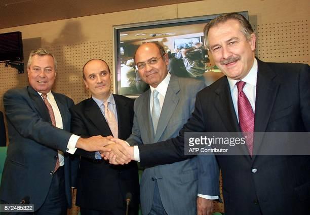 Gonzalo Pascual president of Spanish tourist group Marsans Company Ignacio Ruiz Jarabo president of SEPI Gerardo Diaz vicepresident of Marsans...