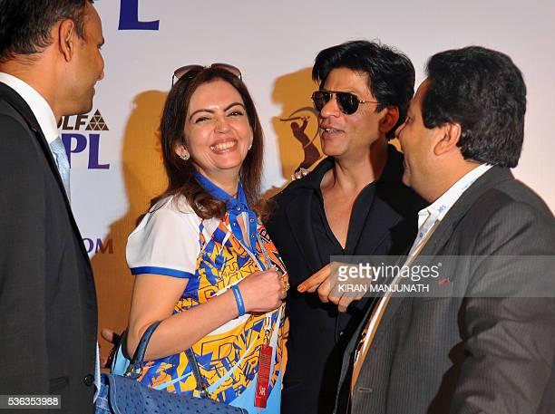 IPL CEO Sundar Raman owner of Mumbai Indians Neeta Ambani Bollywood actor and owner of Kolkata Knight Riders Shah Rukh Khan and IPL Chairman Rajiv...