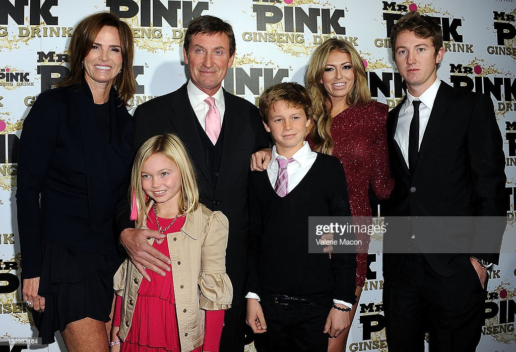 Janet Jones, Emma Gretzky, Wayne Gretzky, Tristan Gretzky, Paulina Gretzky and Ty Gretzky arrives at Mr. Pink Ginseng Drink Launch Party on October 11, 2012 in Beverly Hills, California.