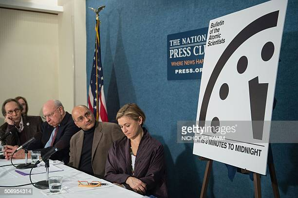 From L to R Lawrence Krauss chair of the Bulletin of Atomic Scientistists' Board of Sponsors former US ambassador to the UN and current member of the...