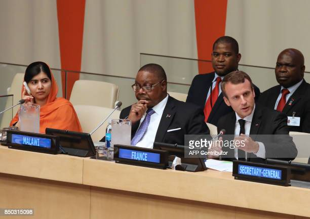 Nobel Peace Prize laureate Malala Yousafzai of Pakistan Malawi's President Arthur Peter Mutharika and French President Emmanuel Macron attend the...