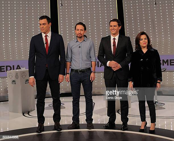 From L to R party leaders Pedro Sanchez of the PSOE socialist party Pablo Iglesias of Podemos Albert Rivera of Ciudadanos and VicePresident Soraya...