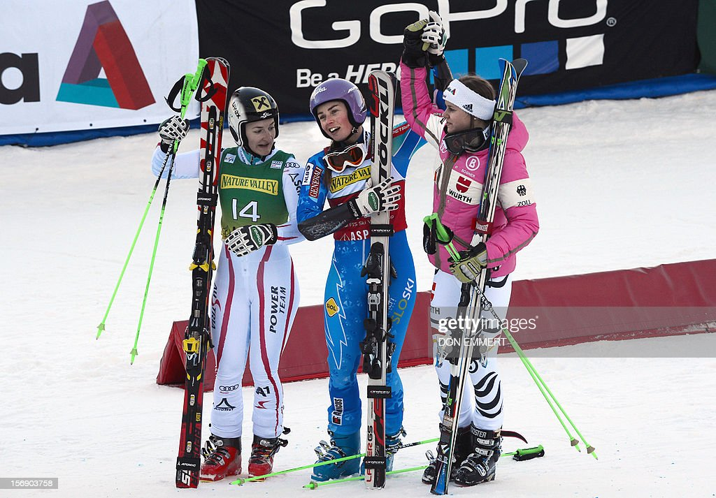 From L to R, second-placed Kathrin Zettel of Austria, winner Tina Maze of Slovenia and thir-placed Viktoria Rebensburg of Germany celebrate after completing the second run in the women's World Cup giant slalom in Aspen on November 24, 2012. AFP PHOTO/Don EMMERT