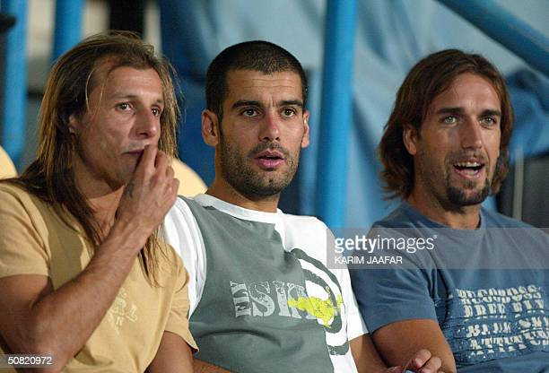 From L to R Soccer stars Argentinian Gabriel Batistuta of AlArabi club Spaniard Joseph Guardiola of alAhli and Argentinian Claudiou Caniggia of Qatar...