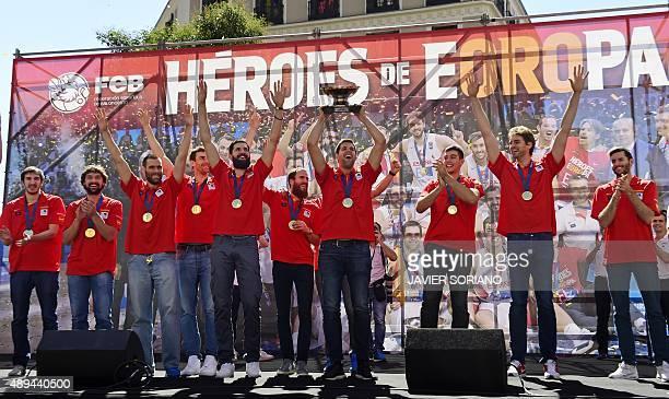Spain's point guard Guillem Vives point guard Sergio Llull forward Fernando San Emeterio power forward Victor Claver center Nikola Mirotic point...