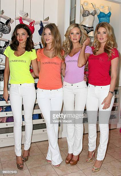From L to R Supermodels Miranda Kerr Rosie Huntington Whiteley Candice Swanepoel and Doutzen Kroes attend Victoria's Secret Models Share Shopping...