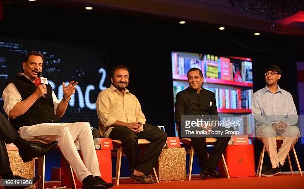 From L to R Union Minister Rajiv Pratap Rudy Super 30 Founder Anand Kumar author Chetan Bhagat and Prof at Princeton University Manjul Bhargava at...