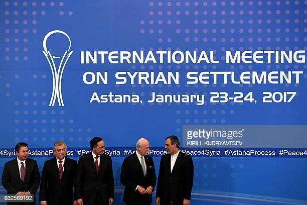 Turkish Foreign Ministry Deputy Undersecretary Sedat Onal Russia's special envoy on Syria Alexander Lavrentiev Kazakh Foreign Minister Kairat...