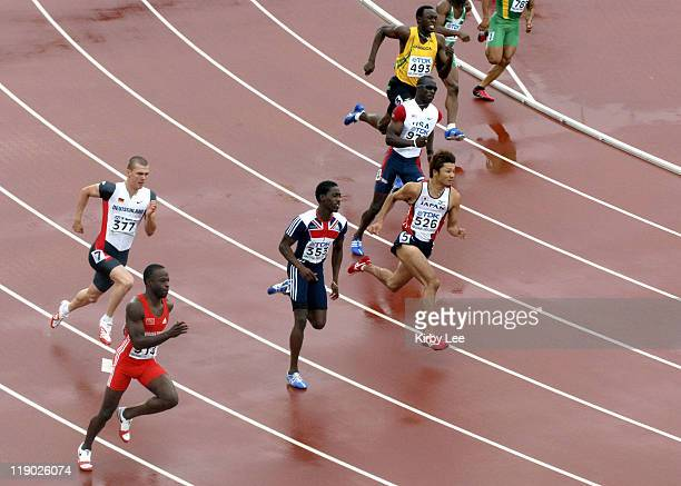 Aaron Armstrong of Trinidad Tobago Sebastian Ernst of Germany Christian Malcolm of Great Britain Shingo Suetsugu of Japan John Capel of the United...