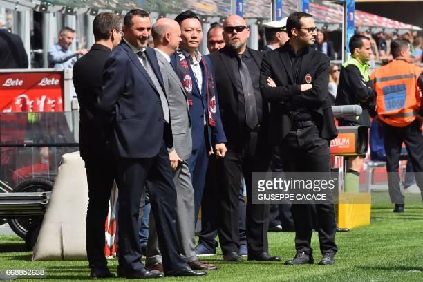 AC Milan's Sport Director Massimo Mirabelli AC Milan's Managing Director Marco Fassone and Rossoneri Sport Investment Lux representative David Han Li...