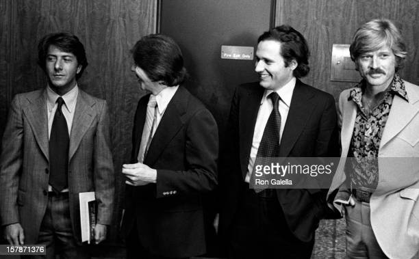 From left actor Dustin Hoffman journalists Carl Bernstein and Bob Woodward and actor Robert Redford attend the premiere of the film 'All The...