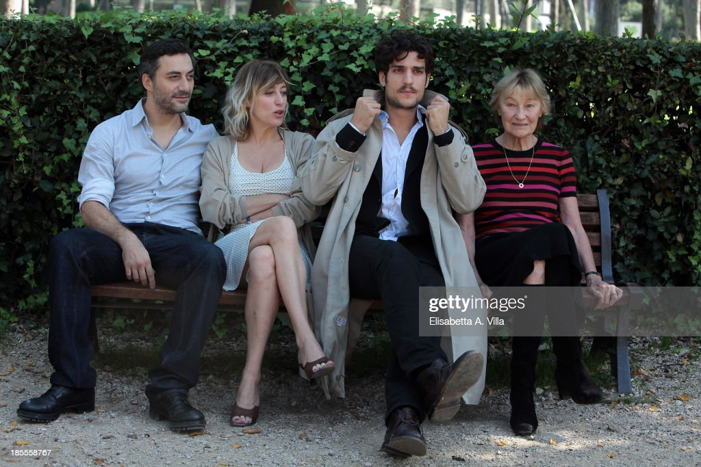 From left, actor <a gi-track='captionPersonalityLinkClicked' href=/galleries/search?phrase=Filippo+Timi&family=editorial&specificpeople=4146821 ng-click='$event.stopPropagation()'>Filippo Timi</a>, director Valeria Bruni Tedeschi, actor <a gi-track='captionPersonalityLinkClicked' href=/galleries/search?phrase=Louis+Garrel&family=editorial&specificpeople=868484 ng-click='$event.stopPropagation()'>Louis Garrel</a> and actress Marisa Borini attend 'Un Castello In Italia' Rome Photocall at Villa Borghese on October 22, 2013 in Rome, Italy.
