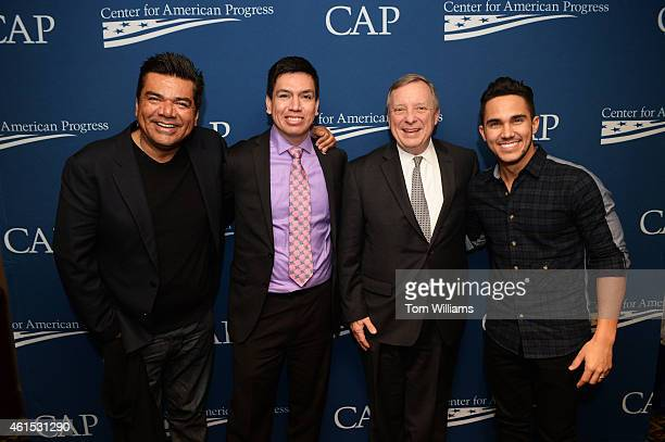 From left actor George Lopez who stars in Spare Parts Oscar Vazquez a student from the school who is portrayed by Carlos PenaVega right and Senate...