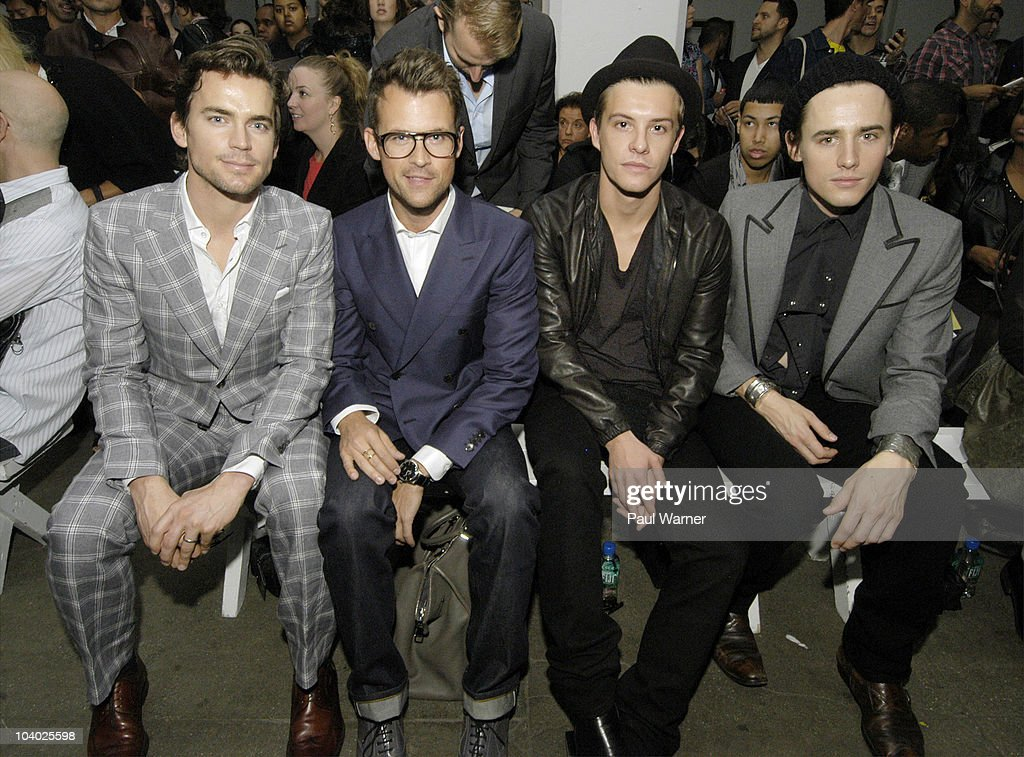 From left, actor <a gi-track='captionPersonalityLinkClicked' href=/galleries/search?phrase=Matt+Bomer&family=editorial&specificpeople=2960058 ng-click='$event.stopPropagation()'>Matt Bomer</a> from the show 'White Collar', stylist Brad Goreski from the Rachel Zoe Project, actor <a gi-track='captionPersonalityLinkClicked' href=/galleries/search?phrase=Xavier+Samuel&family=editorial&specificpeople=5294127 ng-click='$event.stopPropagation()'>Xavier Samuel</a> from 'Twilight' and actor <a gi-track='captionPersonalityLinkClicked' href=/galleries/search?phrase=Reeve+Carney&family=editorial&specificpeople=5312264 ng-click='$event.stopPropagation()'>Reeve Carney</a> from 'Spiderman, the Musical'attends the Simon Spurr Spring 2011 fashion show during Mercedes-Benz Fashion Week at Exit Art on September 12, 2010 in New York City.