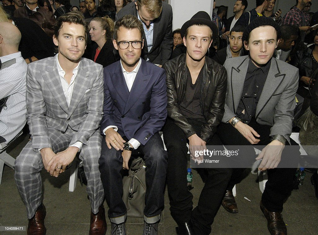 From left, actor <a gi-track='captionPersonalityLinkClicked' href=/galleries/search?phrase=Matt+Bomer&family=editorial&specificpeople=2960058 ng-click='$event.stopPropagation()'>Matt Bomer</a> from the show 'White Collar', stylist Brad Goreski from the <a gi-track='captionPersonalityLinkClicked' href=/galleries/search?phrase=Rachel+Zoe+-+Stylist&family=editorial&specificpeople=546501 ng-click='$event.stopPropagation()'>Rachel Zoe</a> Project, actor <a gi-track='captionPersonalityLinkClicked' href=/galleries/search?phrase=Xavier+Samuel&family=editorial&specificpeople=5294127 ng-click='$event.stopPropagation()'>Xavier Samuel</a> from 'Twilight' and actor Reeve Carney from 'Spiderman, the Musical'attends the Simon Spurr Spring 2011 fashion show during Mercedes-Benz Fashion Week at Exit Art on September 12, 2010 in New York City.