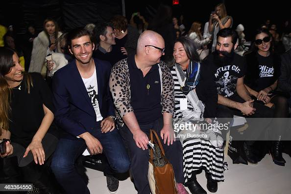 From left actor Swen Temmel Paper Magazine editor Mickey Boardman and actress Mindy Cohn attend the Mark And Estel fashion show during MercedesBenz...