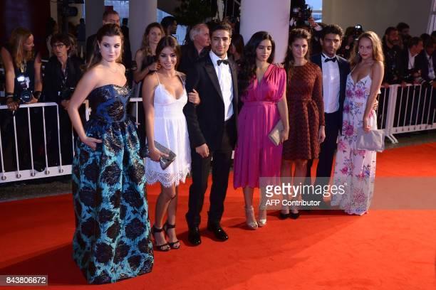 Actors Alexia Chardard Mel Einda El Asfour Shain Boumedine Hafsia Herzi Ophelie Bau Salim Kechiouche and Lou Luttiau attend the premiere of the movie...