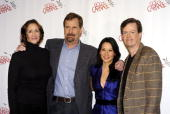 From left actors Janet McTeer Jeff Daniels Lucy Liu and Dylan Baker attend a photo call as the new cast of 'God Of Carnage' at Sardi's on February 16...