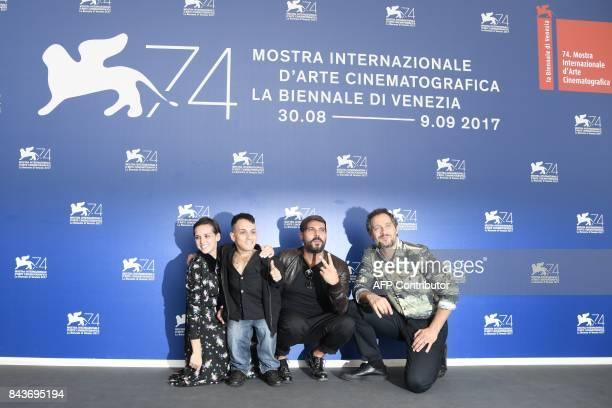 Actors Sara Serraiocco Simoncino Simone Martucci actor Marco D'Amore and actor Claudio Santamaria attend the photocall of the movie 'Brutti e...