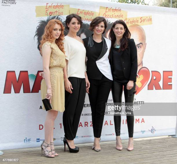 From left actresses Miriam Dalmazio Ambra Angiolini Luisa Ranieri and Eleonora Ivone attend 'Maldamore' photocall at Villa Borghese on March 10 2014...