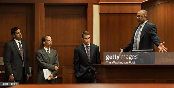 From left Alberto Salvado David Bernhard defense attorneys and Casey Lingan chief deputy of the Commonwealths Attorney Fairfax County Judicial Center...