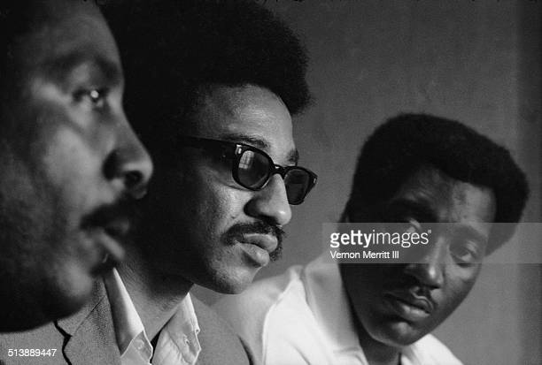 From left American actor and Civil Rights activist Dick Gregory Student Nonviolent Coordinating Committee chairman H Rap Brown and musician Otis...