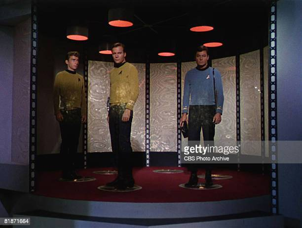 From left American actor Bruce Watson as Crewman Green Canadian actor William Shatner as Captain James T Kirk and American actor DeForest Kelley as...