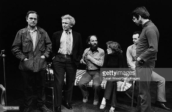 From left American actor Rip Torn author Norman Mailer playwright and theatre director Jack Gelber and unidentified others on the set of Gelber's...