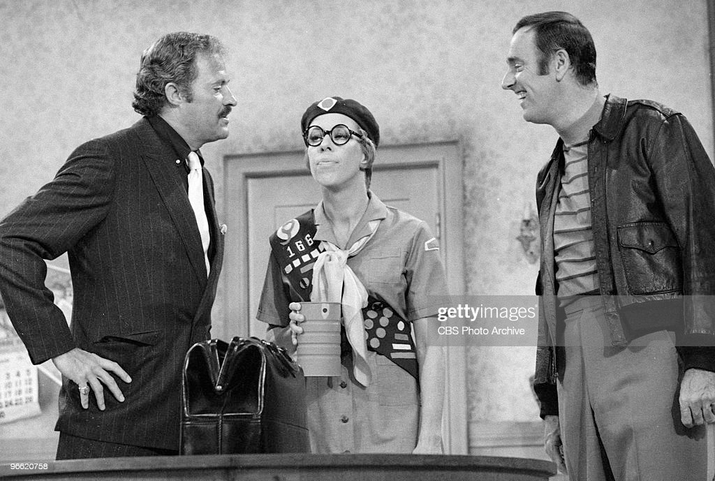 From left American actor/comedians Dan Rowan Carol Burnett and Dick Martin appear in a skit on an episode of the television comedy variety program...