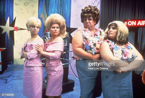 From left American actors Colleen Fitzpatrick Debbie Harry Divine and Ricki Lake in a scene from 'Hairspray' directed by John Waters 1988