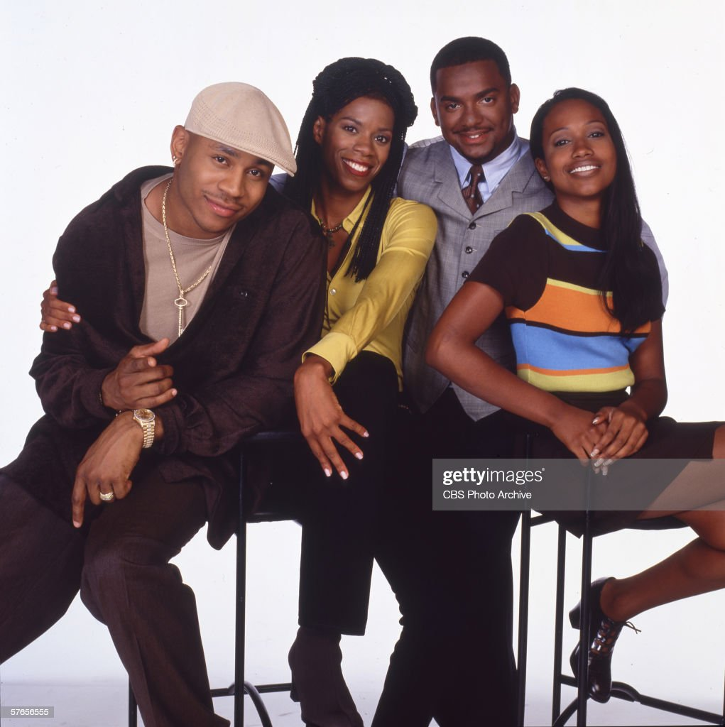 American actors LL Cool J, Kim Wayans, Alfonso Ribeiro, and Maia Campbell of the TV comedy series 'In the House,' 1997.