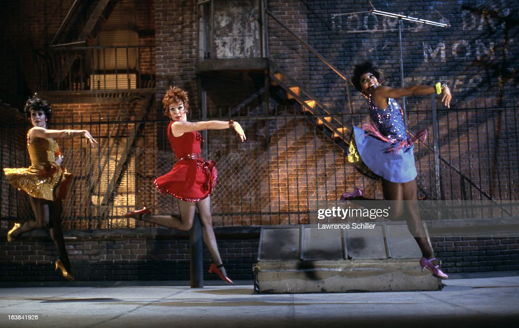 From left American actresses Chita Rivera Shirley MacLaine and Paula Kelly dance in a scene from the film 'Sweet Charity' at Universal Studios Los...