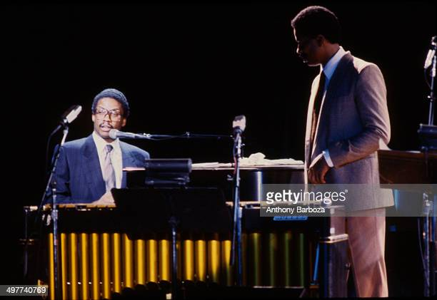From left American jazz musicians Herbie Hancockon piano and Bobby Hutcherson on vibes perform on stage during the 'One Night With Blue Note' concert...