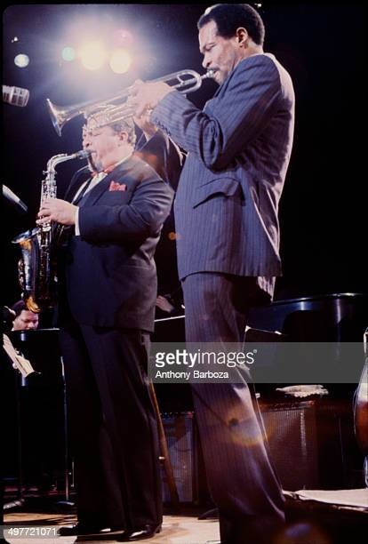 From left American jazz musicians McCoy Tyner on piano Jackie McLean on saxophone and Woody Shaw on trumpet perform on stage during the 'One Night...