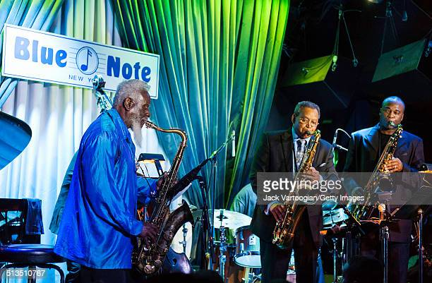 From left American Jazz tenor saxophonists Pharoah Sanders Odean Pope and James Carter perform with Pope's sextet at The Blue Note New York New York...