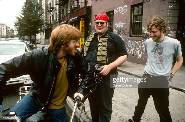 From left American musicians Trey Anastasio of Phish John Popper of Blues Traveler and Chris Barron of Spin Doctors as they pose for a photo shoot in...