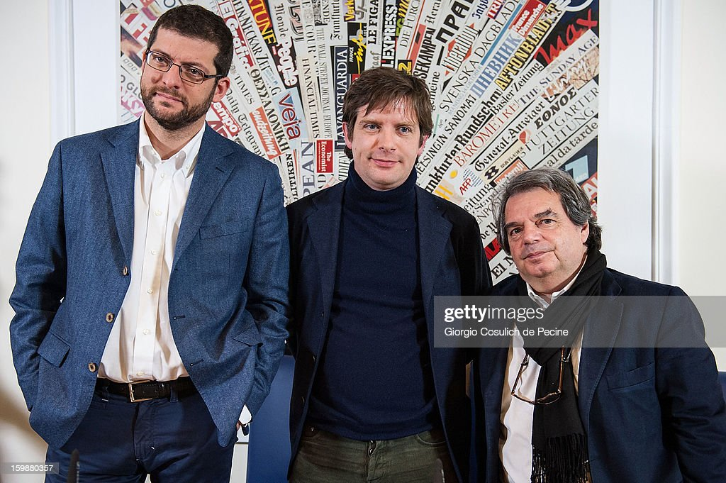 From left, Andrea Romano, from Lista Monti, Giuseppe Civati, from PD Democratic Party and Renato Brunetta, from PDL political party, pose prior the press conference for the presentation of Google Elections 2013 on January 22, 2013 in Rome, Italy. The Google platform elections, organized in collaboration with the newspaper La Stampa and the TV channel La7, brings for the first time in Italy a new model of citizen participation on the web, which has already been successfully tested by Google in elections in the U.S., in France, Germany and other countries of the world.