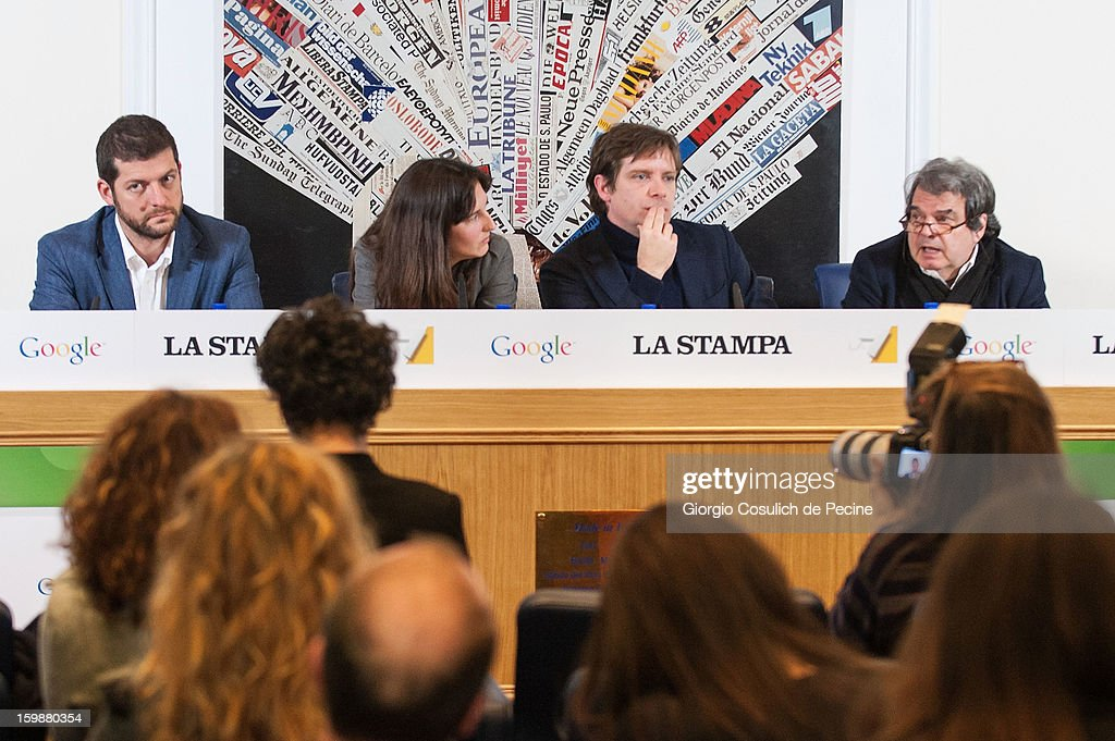 From left, Andrea Romano, from Lista Monti, Laura Bononcini, policy manager for Google Italy, Giuseppe Civati, from PD Democratic Party and Renato Brunetta, from PDL political party, attend the press conference for the presentation of Google Elections 2013 on January 22, 2013 in Rome, Italy. The Google platform elections, organized in collaboration with the newspaper La Stampa and the TV channel La7, brings for the first time in Italy a new model of citizen participation on the web, which has already been successfully tested by Google in elections in the U.S., in France, Germany and other countries of the world.