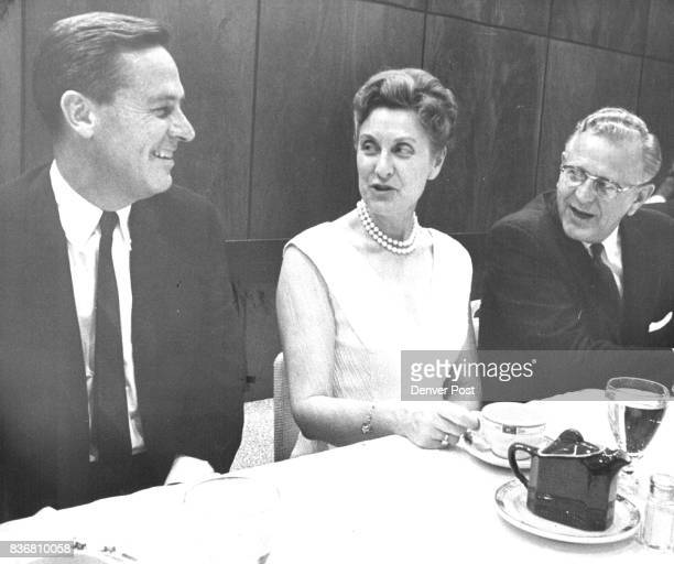 S DINNER MEETING From left are Gov John Love Mrs Clare B Williams national GOP vice chairman and Colorado Sen Gordon Allott who blistered the Kennedy...