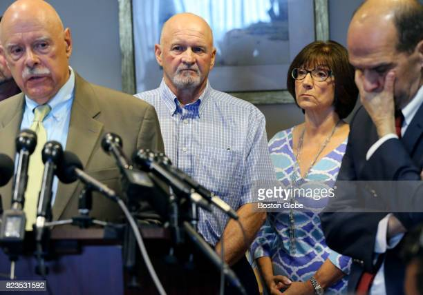 From left Attorney Carmen Durso Rodney and Paula Ford and attorney Mitchell Garabedian take part in a press conference at the Law Office of Carmen L...