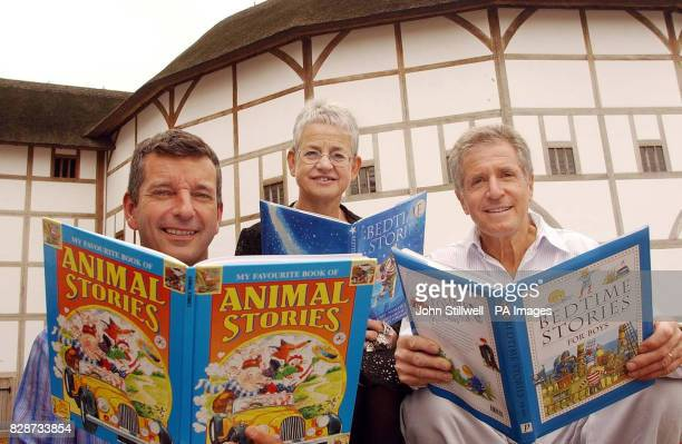 From left Authors Tony Hawks Jacqueline Wilson and George Layton at Shakespeare's Globe Theatre in London for the relaunch of the write4GOSH online...