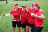 From left Azahara Munoz Belen Mozo Beatriz Recari and Carlota Ciganda of Spain celebrate after winning the International Crown at Cave Valley Golf...