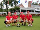 From left Azahara Munoz Belen Mozo Carlota Ciganda and Beatriz Recari of Spain pose with the trophy after winning the International Crown at Cave...
