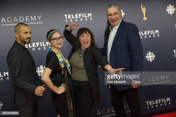 From left Bermudez Glauco Kwena Bellemare Boivin Chloe Leriche and Jacques Newashish Canadian Screen Awards red carpet at Sony Centre for the...