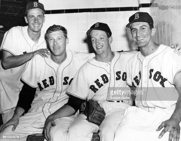 From left Boston Red Sox Sammy White Don Lenhardt Russ Kemmerer and Harry Agganis pose for a photo after a game at Fenway Park in Boston Aug 21 1954