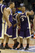 Brandon Roy Nate Robinson and Will Conroy of Washington celebrate 8172 victory over Arizona in the Pacific Life Pac10 Tournament Championship at the...