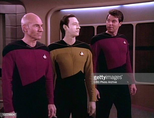 From left British actor Patrick Stewart and American actor Brent Spiner and Jonathan Frakes in a scene from an episode of the television series 'Star...