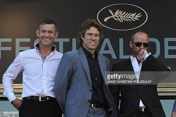 British actors Trevor Williams John Bishop and Mark Womack arrive for the screening of 'Route Irish' presented in competition at the 63rd Cannes Film...