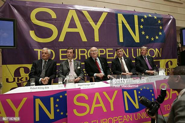 From left British politicians Robert KilroySilk Nigel Farage David Lott Roger Knapman and an unidentified man at a press conference England May 12...